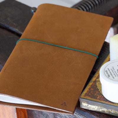 camel travelers notebook with monogram