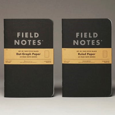Field Notes Pitch Black Dot Graph or Lined - Pack of 2 - New Large Size