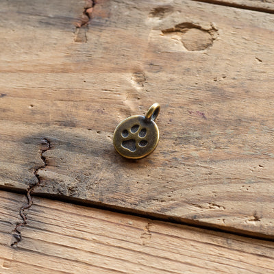 Metal Medallion - Paw Print - Antique Brass