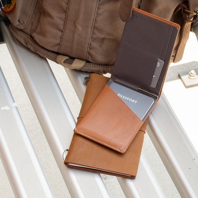 Bellroy Travel Wallet - Caramel with Camel Travelers Notebook