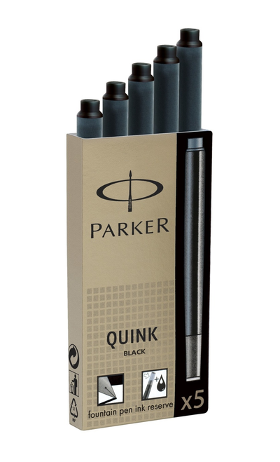 Parker Quink Ink Cartridge Black - Pack of 5
