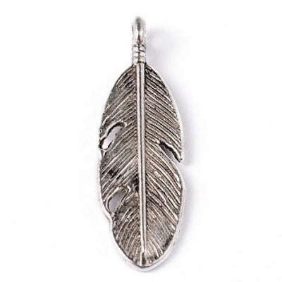 Metal Charm - Feather - Antique Silver