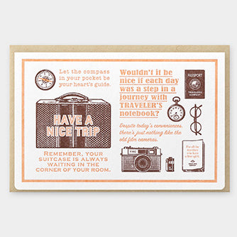 Travelers Letterpress Card & Envelope - Travel Tools - Brown
