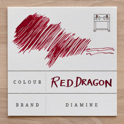 diamine red dragon fountain pen ink swatch