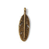 Metal Charm - Feather - Antique Bronze