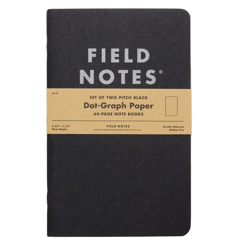 Field Notes Pitch Black Dot Graph - Pack of 2 - Large Size