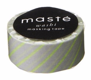 Maste Washi Tape - Neon Yellow Grey Stripes