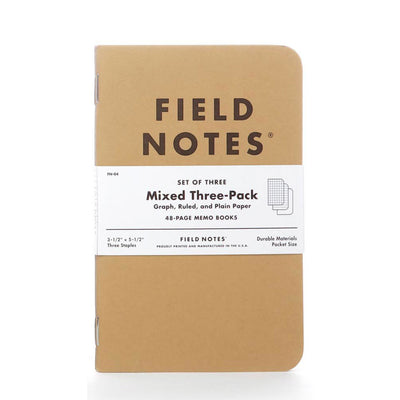 Field Notes Mixed Pack, Ruled, Grid and Blank - Pack of 3