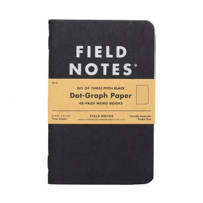 Field Notes Pitch Black Dot Graph - Pack of 3