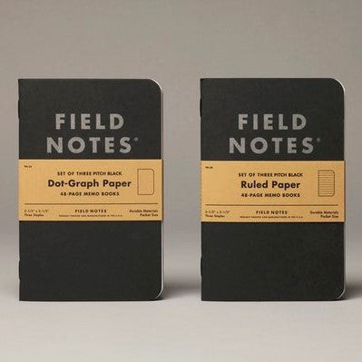 Field Notes Pitch Black Dot Graph or Lined - Pack of 3