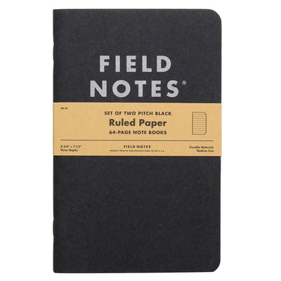 Field Notes Pitch Black Lined - Pack of 2 - Large Size