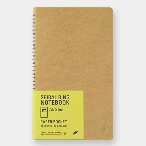 Spiral Ring Notebook - Paper Pocket - A5 Slim
