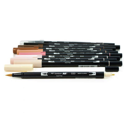 Tombow Dual Brush Pen Set of 10 - Portrait Palette