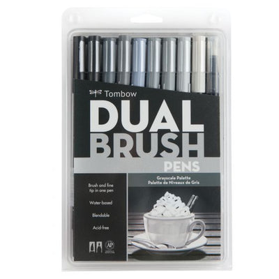 Tombow Dual Brush Pen Set of 10 - Grayscale Palette