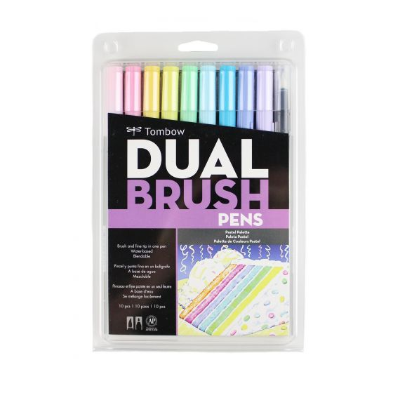 Tombow Dual Brush Pen Set of 10 - Pastel Palette