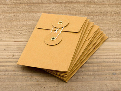 Envelope Small - Set of 8 - Orange Button & String