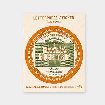 Travelers Letterpress Sticker - Travel Tools - Red