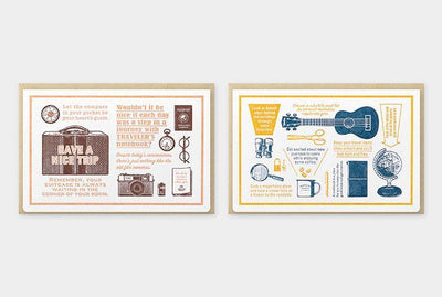 Travelers Letterpress Card & Envelope - Travel Tools - Blue