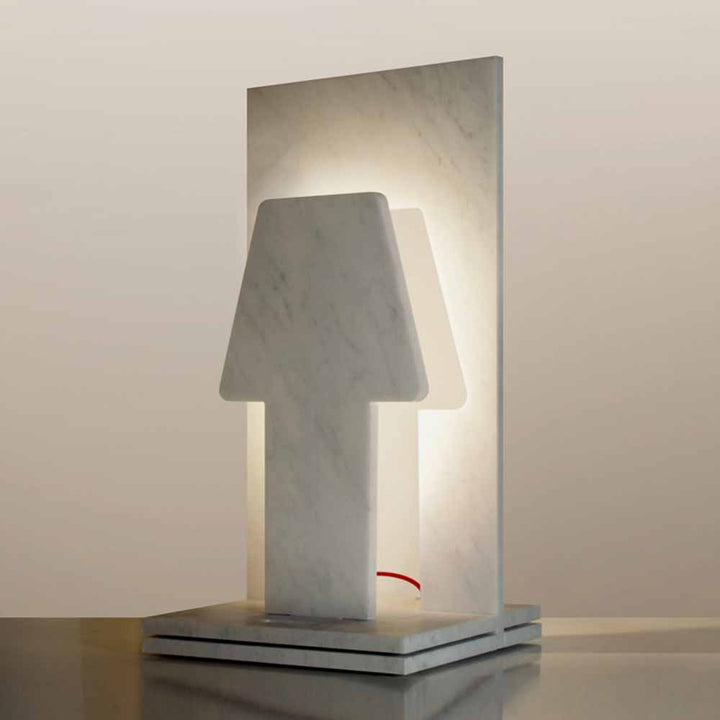 White Carrara marble table lamp by Ulian Paolo e Ratti Moreno - Fp Art Online