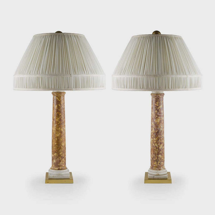 Broccatello and marble lamps by Antiques - Fp Art Online