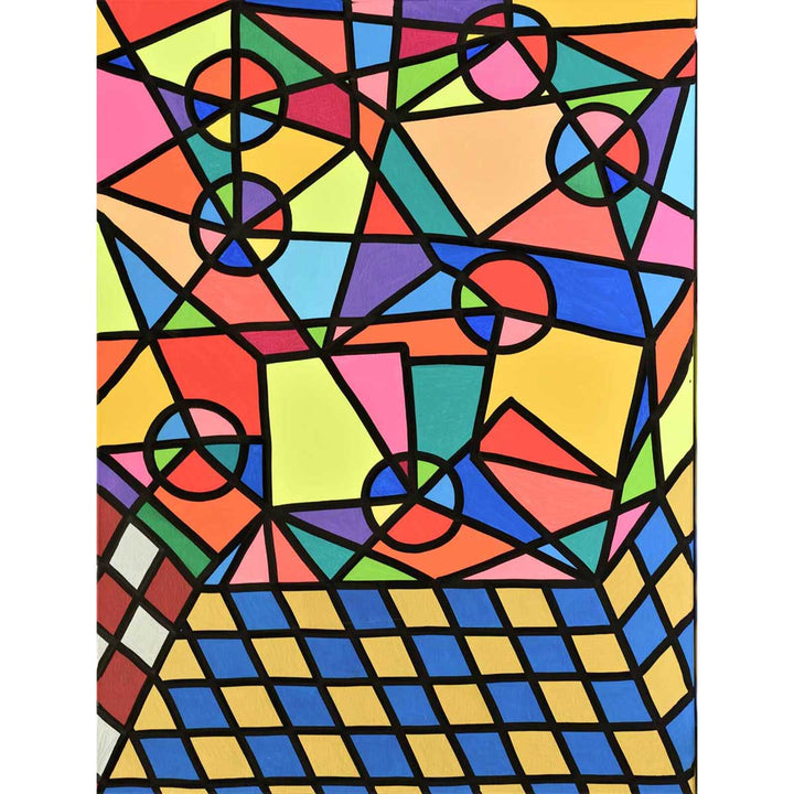 Caos Geometrico Organizzato, Acrylic, metallic, glitter, markering on canvas by Ottanio Jack - Fp Art Online