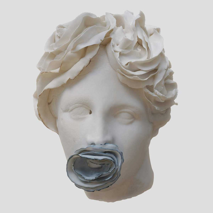 Come Tu Mi Vuoi #1, Porcelain sculpture, moulding for the face and manual for leaf elements by Amedeo Annalia - Fp Art Online
