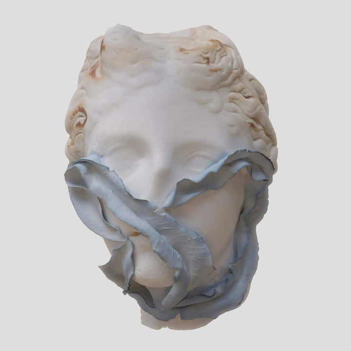 Come Tu Mi Vuoi #3, Porcelain sculpture, moulding for the face and manual for leaf elements by Amedeo Annalia - Fp Art Online