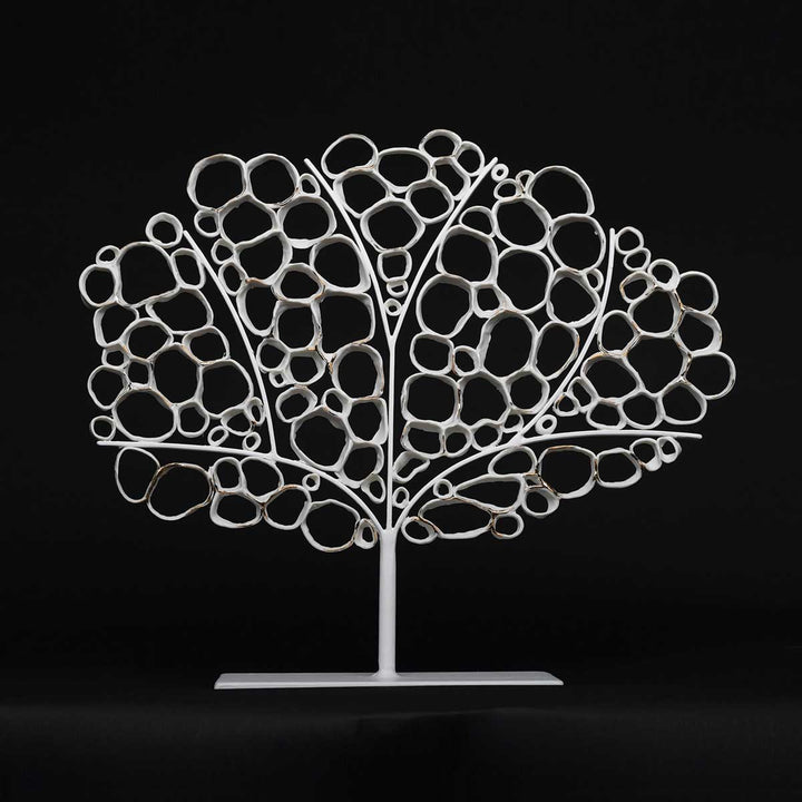 Coral, Porcelain and 20-carat gold lustre iron base sculpture by Battista Emanuela - Fp Art Online