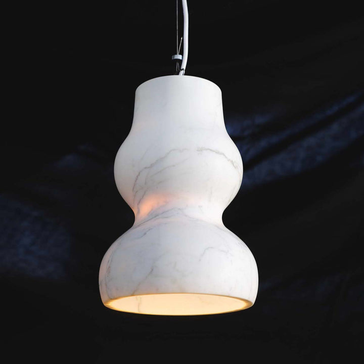 Dorchester Pendant Lamp, White Carrara Veined Marble by Up Group - Fp Art Online