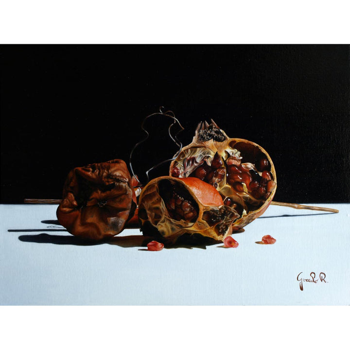 Dried Pomegranate and Pear, Oil paint on canvas by Giraudo Riccardo - Fp Art Online