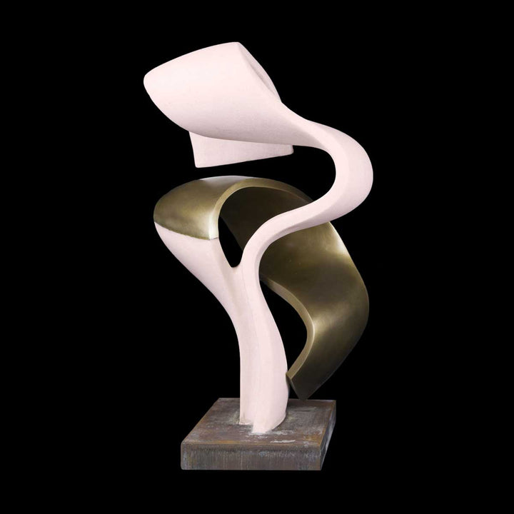 Fusioni, Pink marble of Portugal and bronze sculpture by Nurigiani Isabella - Fp Art Online