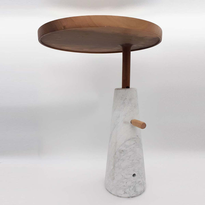 Gueridon Side Table, White Carrara Marble, Imperial Bard and wood by Up Group - Fp Art Online