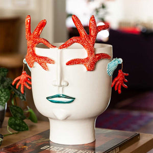 Corallina from Trapani, Handmade ceramic head vase with coral and earring reliefs by Italiano Patrizia - Fp Art Online