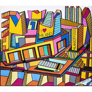 Milano City 2050, Acrylic, metallic, glitter, markering on canvas by Ottanio Jack - Fp Art Online
