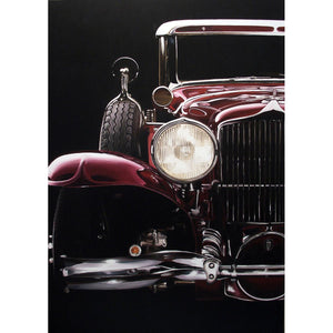 Maroon Old Car, Oil paint on canvas by Mini Daniele - Fp Art Online