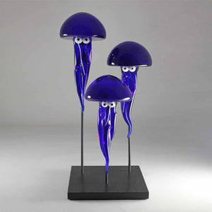 Medusa, Free blown glass sculpture, black granite stand by Laty Nicolas - Fp Art Online