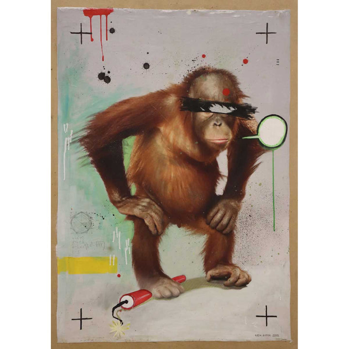 Monkey, Mixed on plywood by Bator Lech - Fp Art Online