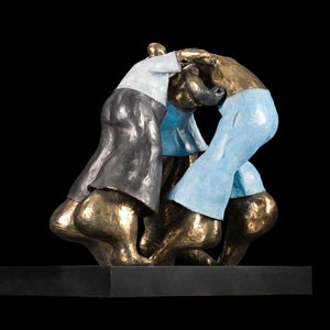 Pugilato in Coppia con Arbitrio, Bronze sculpture by Bonavita Alfonso - Fp Art Online