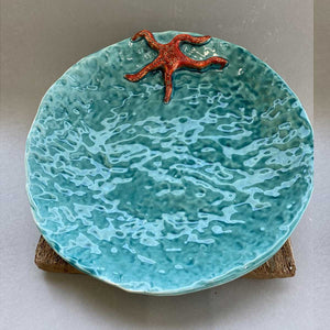 Blue Starfish, Handmade plate with starfish relief, shiny crystalline by Italiano Patrizia - Fp Art Online