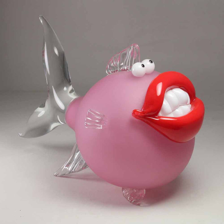 Pink Big Smile, Free blown glass sculpture, sandblasted by Laty Nicolas - Fp Art Online