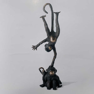 Singes, Painted bronze sculpture by Berry Philippe - Fp Art Online