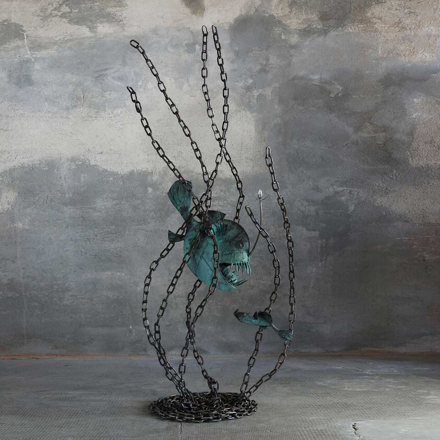 Submarine Abyssal Fish, Copper steel and crystal sculpture by Branca Mario - Fp Art Online