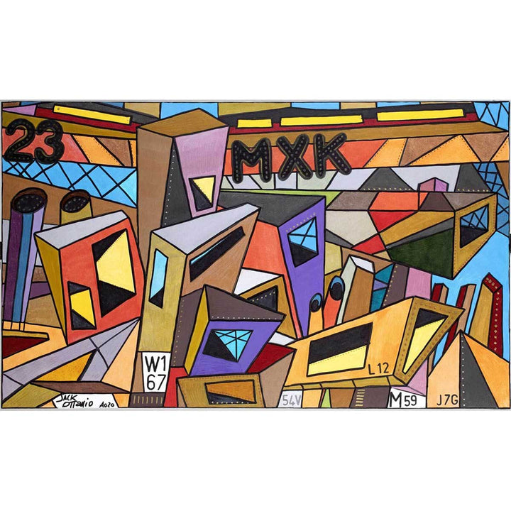 The Factories 2050, Acrylic, metallic, glitter, markering on canvas by Ottanio Jack - Fp Art Online