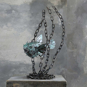 Tetraodontidae, Copper and steel sculpture by Branca Mario - Fp Art Online