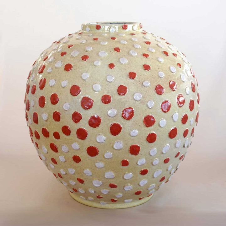 Buttons Vase, 100% handmade ceramic, wheel thrown, with handmade application and decoration by ND Dolfi Ceramics - Fp Art Online