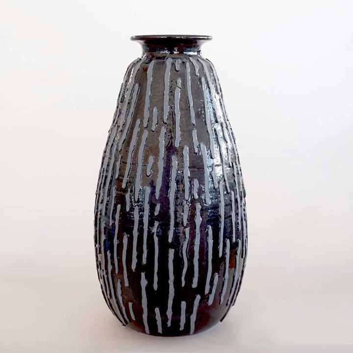 Black Striped Vase, 100% handmade ceramic, wheel thrown, with handmade application and decoration by ND Dolfi Ceramics - Fp Art Online
