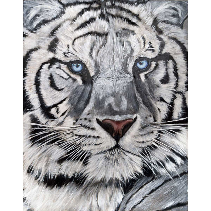 White Tiger, Oil painting on canvas by Chiusano Carla - Fp Art Online