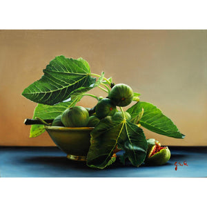 Bowl with Figs, Oil paint on panel by Giraudo Riccardo - Fp Art Online