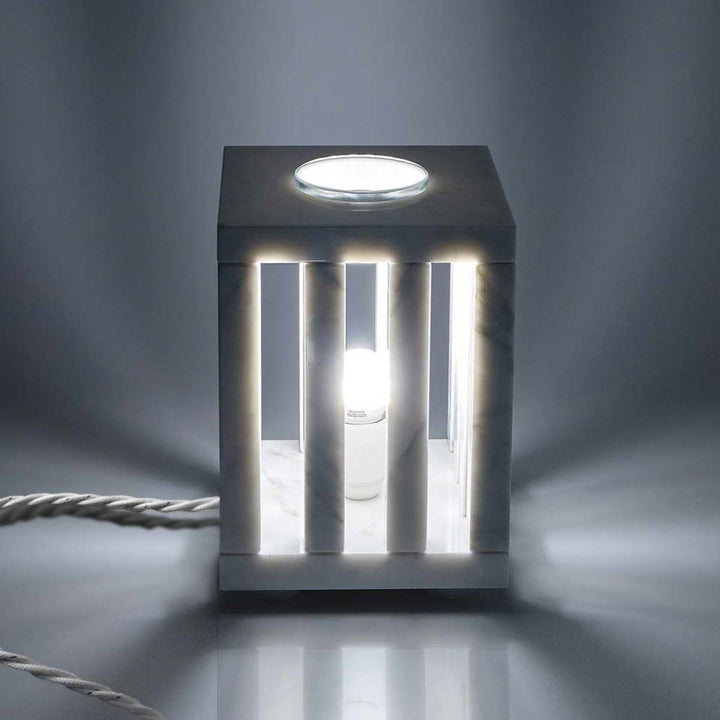 Cage Lamp, White Carrara Veined Marble, 1987 by Up Group - Fp Art Online