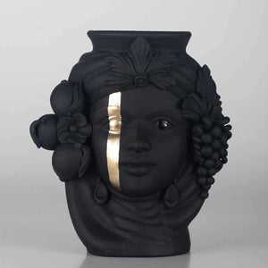 Cecì Black, Matt finished terracotta vase, gold leaf decoration by Boemi Stefania - Fp Art Online